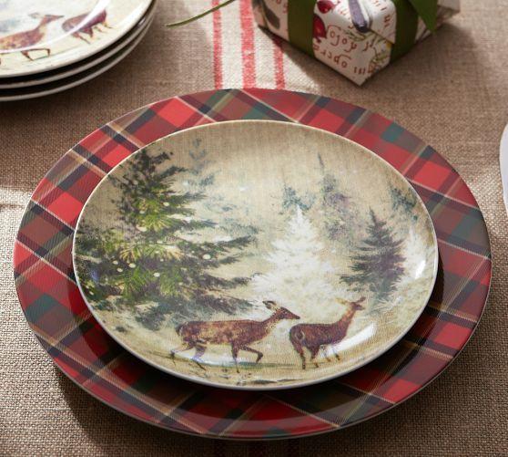Deer in Snow Salad Plate Set of 4   Pottery Barn & Deer in Snow Salad Plate Set of 4   Pottery Barn   WISHLIST ...