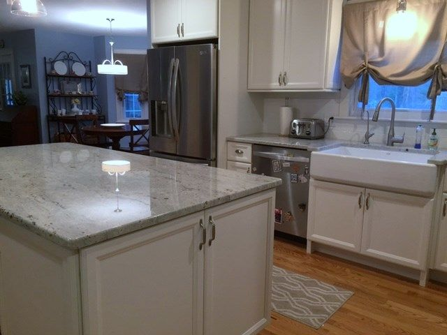 White Kitchen Cabinet Buffet Cabinetry Granite Countertop In King Fisher Blu Cypress Design Co Rhode Island Kitchen Projects Rhodeislandkitchens Kitch