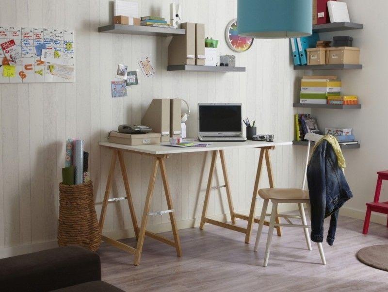 Treteaux 39 Idees Deco Pour Creer Une Table Ou Un Bureau Bureau A Faire Soi Meme Bureau Bois Treteaux