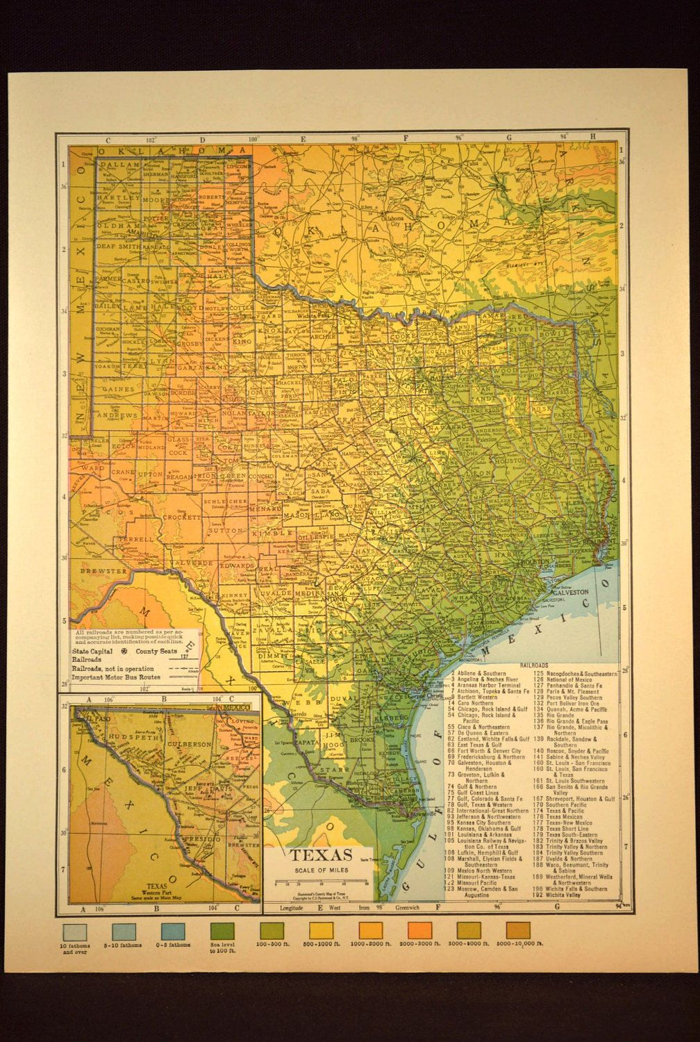 Texas Map Texas Topographic Map Colorful Colored Topo   Texas ...