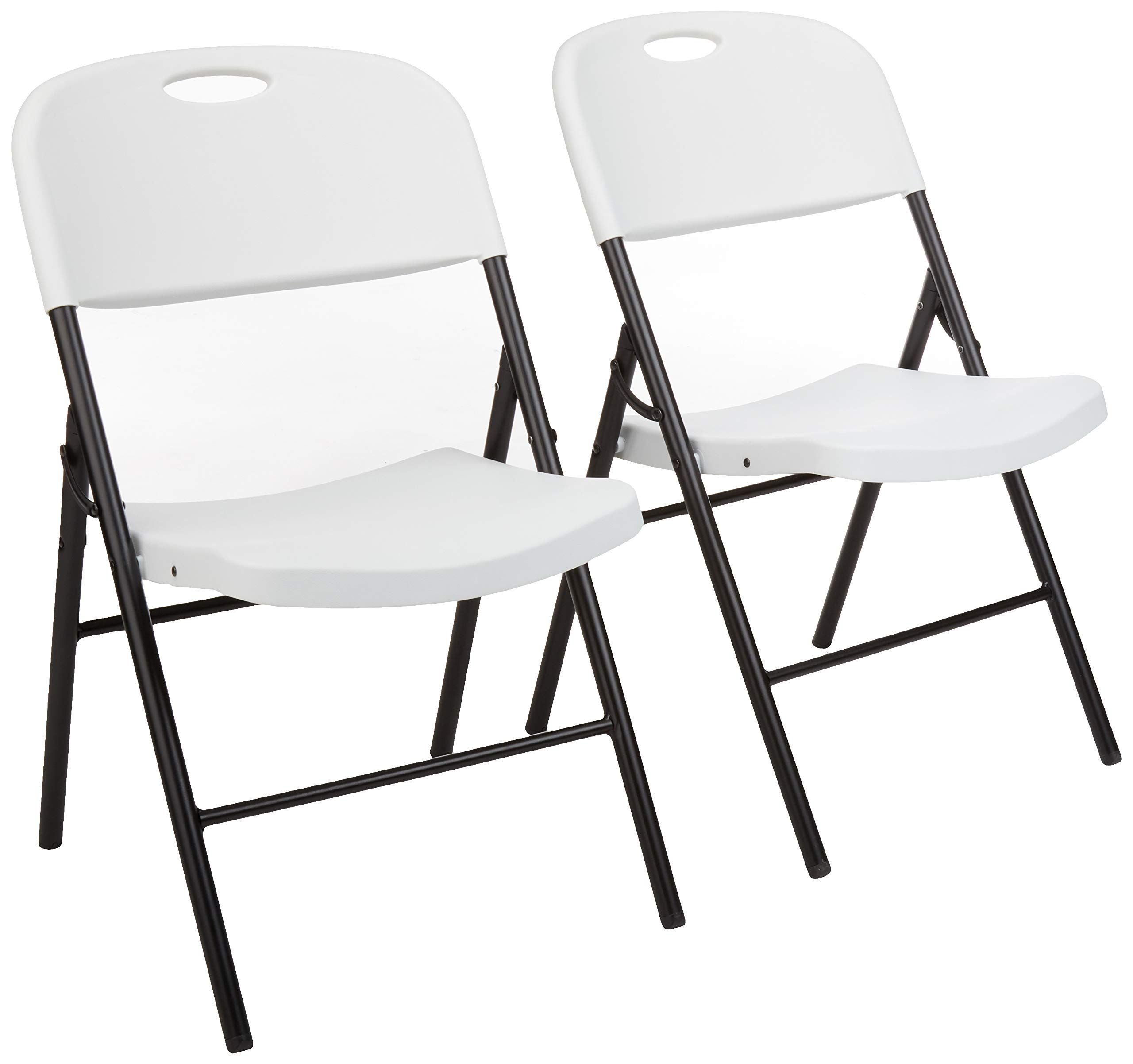Amazonbasics Folding Plastic Chair 350 Pound Capacity White Set