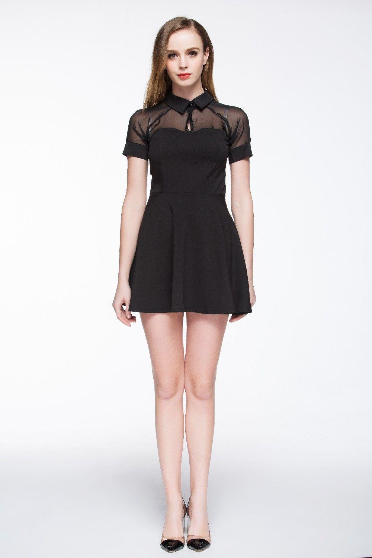 Short Sleeve Black Transparent Shirt Mini Dress | Black Dresses ...
