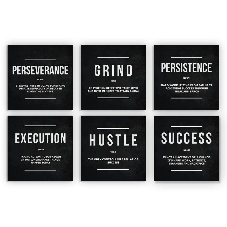 6 Pieces Office Decor Motivational Wall Art Canvas Prints Grind Hustle Success Execution Persistence Perseverance Definition Bundle Set 6x Motivational Wall Art Office Decor Wall Art Canvas Prints