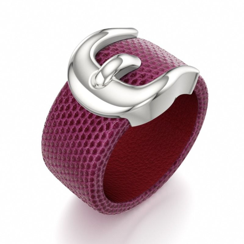 CATWALK | Designer Leather Ring in Aqualino Leather Ruby Red and Supersoft Inside Leather Red
