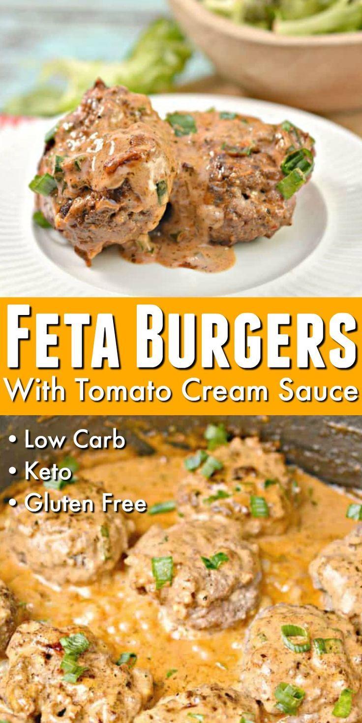 Keto Feta Burgers With Tomato Cream Sauce