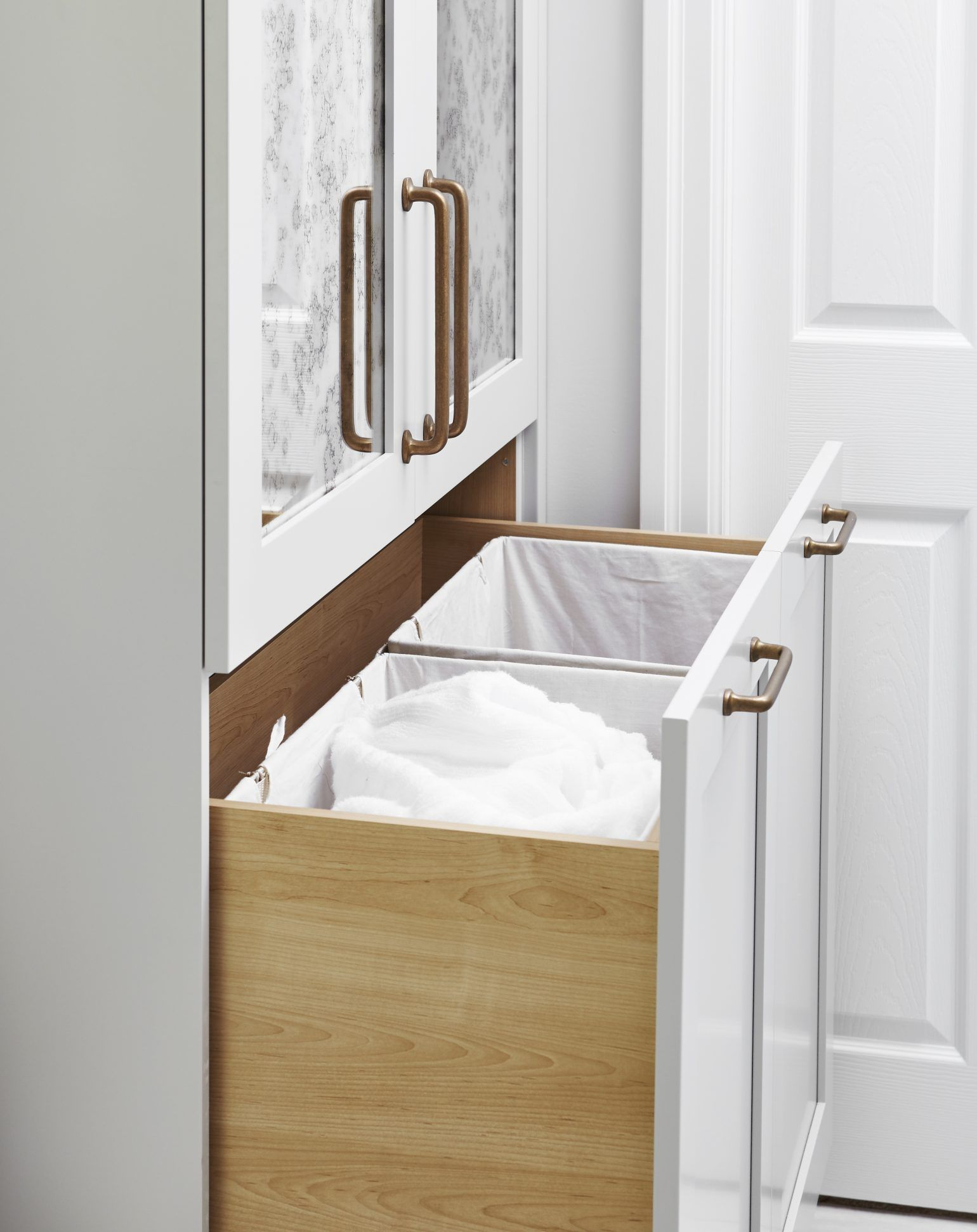 An Awkwardly Shaped Walk In Closet Built In Corner Tub Separate Shower And Dividing Wall Made This Wash Bathroom Closet Hamper Cabinet Bathroom Storage Bench