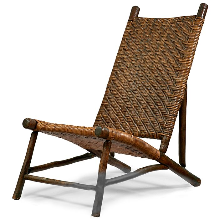 Old Hickory Style Stationary Lounge Chair Hickory Woven