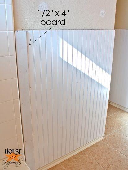 Installing Beadboard In Bathroom.Kids Bathroom Makeover Phase 1 Hanging Beadboard And Trim