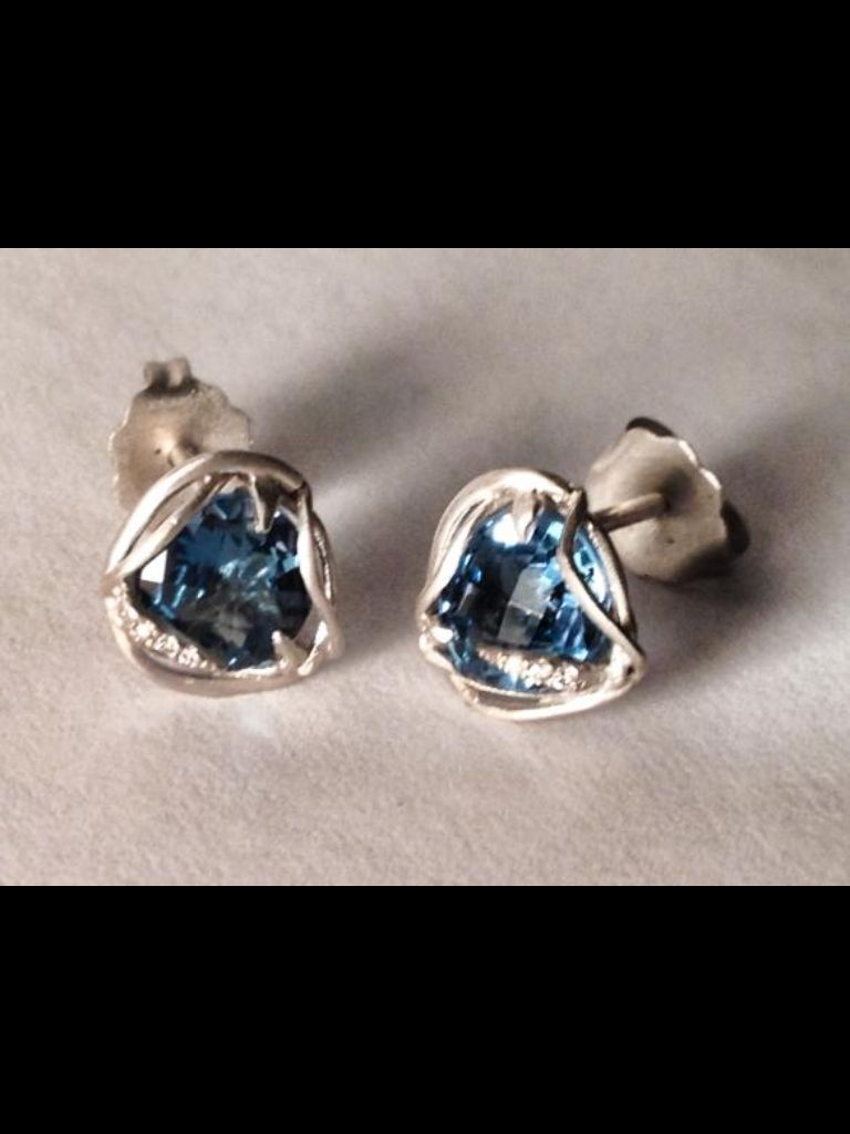 Small Nest Earrings in satin finished 14k white gold with 2.30 carats of Blue Topaz and 0.04 carats of white diamonds