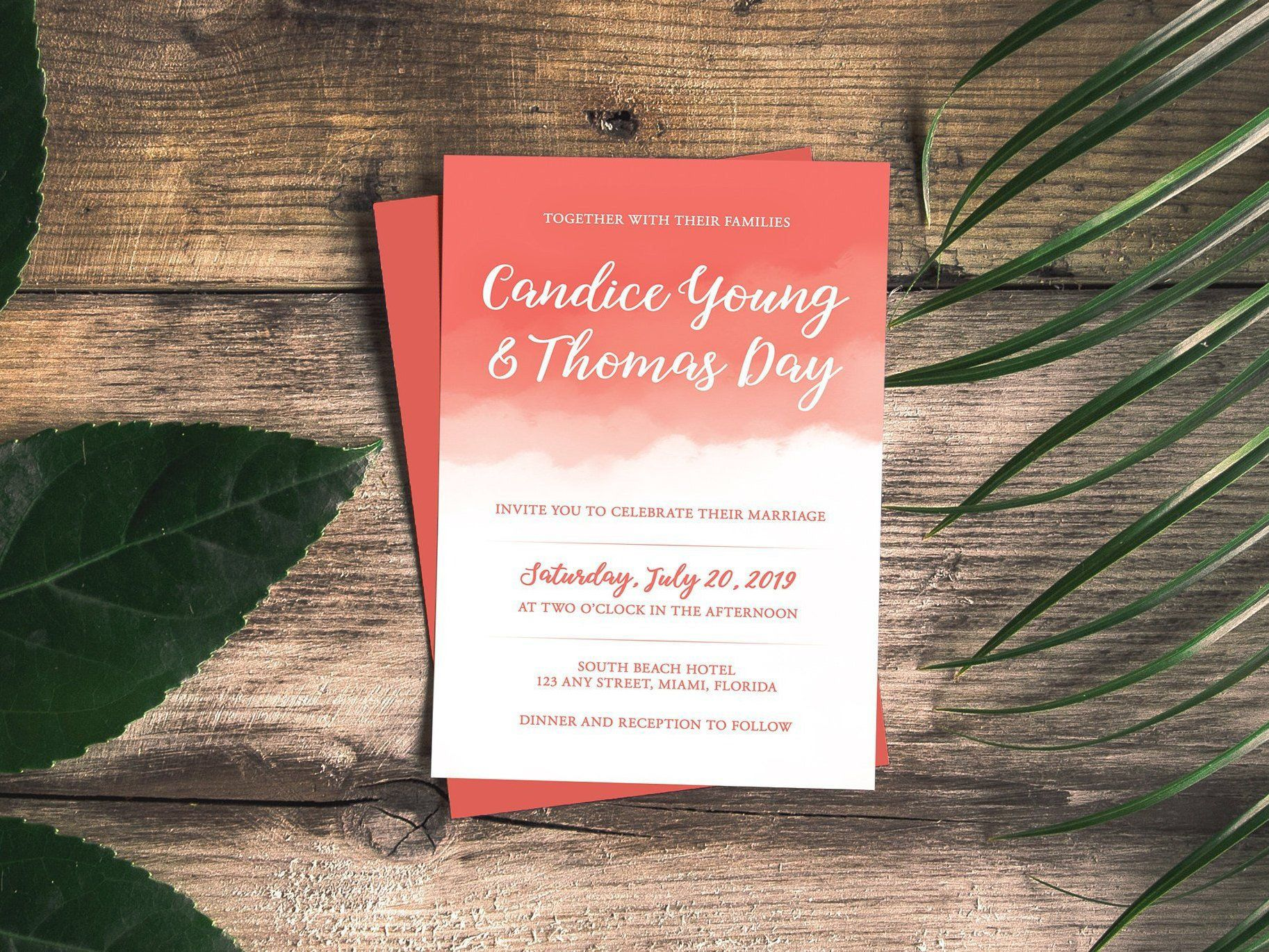 Coral Watercolor Wedding Invitation Template, Printable ...