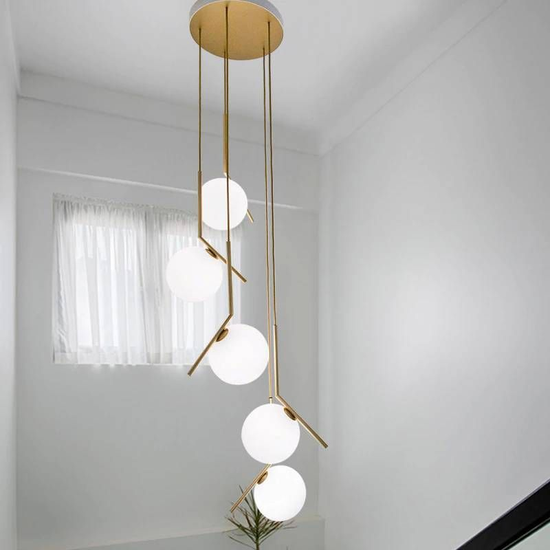 Modern Long Staircase Lights Lighting Creative Villa Living Room Lamp Magic Bean Decoration Glass Ball Dining Pendant Light Dining Pendant Living Room Pendant Light Dining Pendant Light