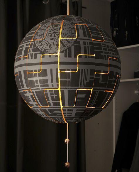 une lampe ikea transforme en toile de la mort de star wars