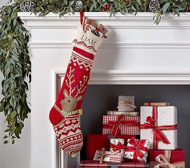Reindeer Merry Amp Bright Stocking Christmas Decorations