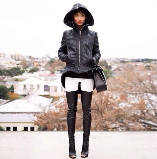 Forget the outfit, look at those boots! ♥♥♥ #faux #leather #hood #black #handbag #purse #denim #white #overtheknee #boots #opentoe #street #style #fashion