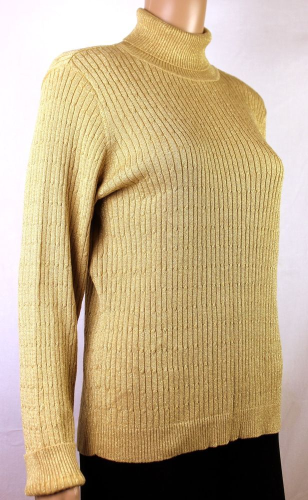 CHARTER CLUB Silk Cotton Blend Cable Knit Turtle Neck Sweater Sz ...