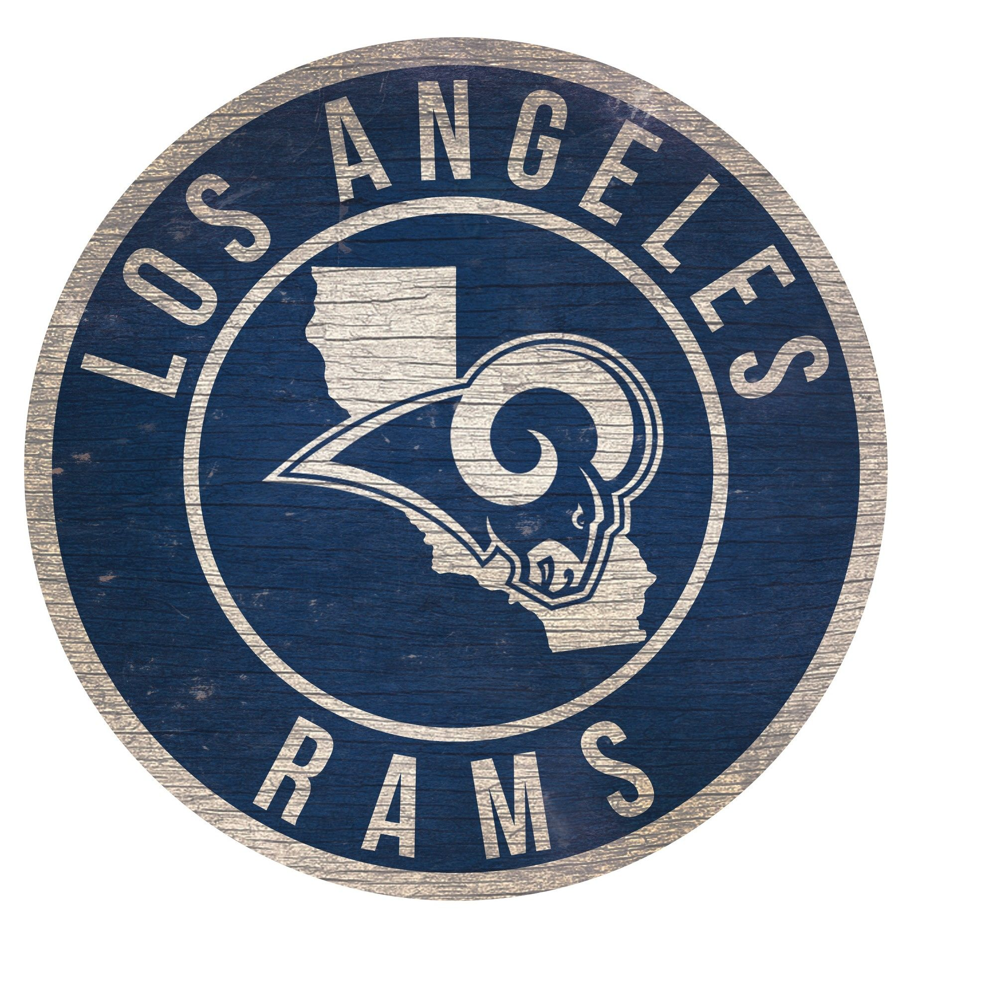 NFL Los Angeles Rams Fan Creations State with Logo 24 Round Sign