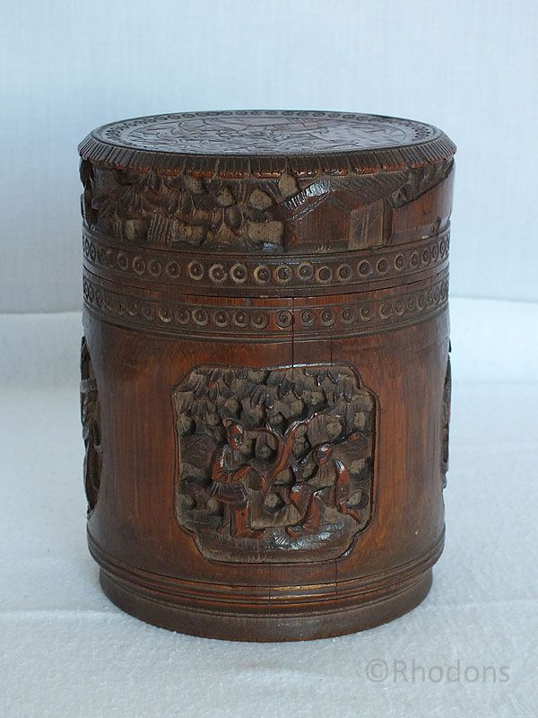 Antique Chinese Carved Bamboo Tea Caddy - Asian and Oriental Antiques