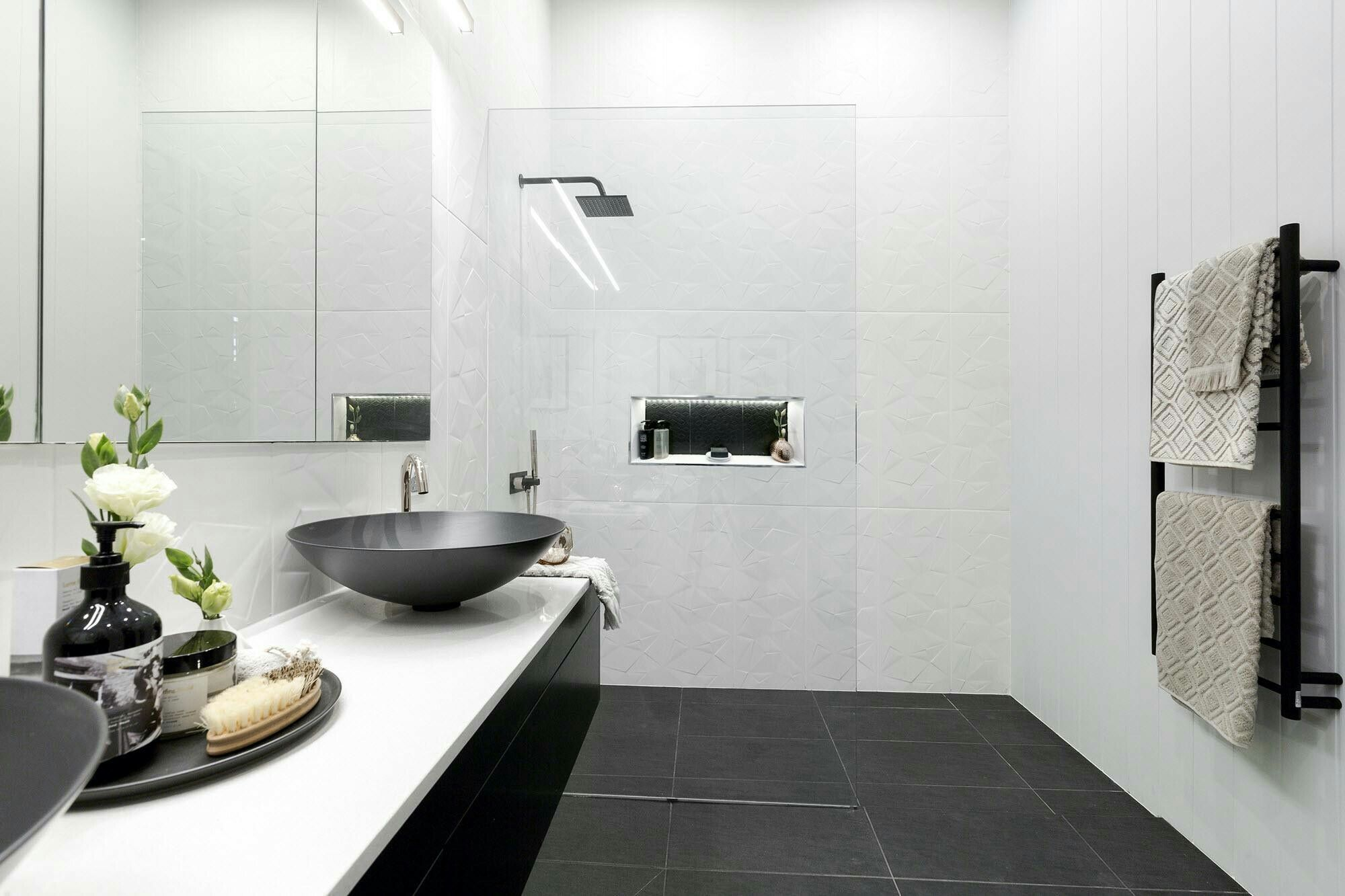 White feature tile with charcoal grey floor tile | Bathroom ...