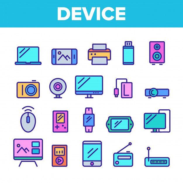 Набор иконок различных устройств Premium... | Premium Vector #Freepik #vector #music