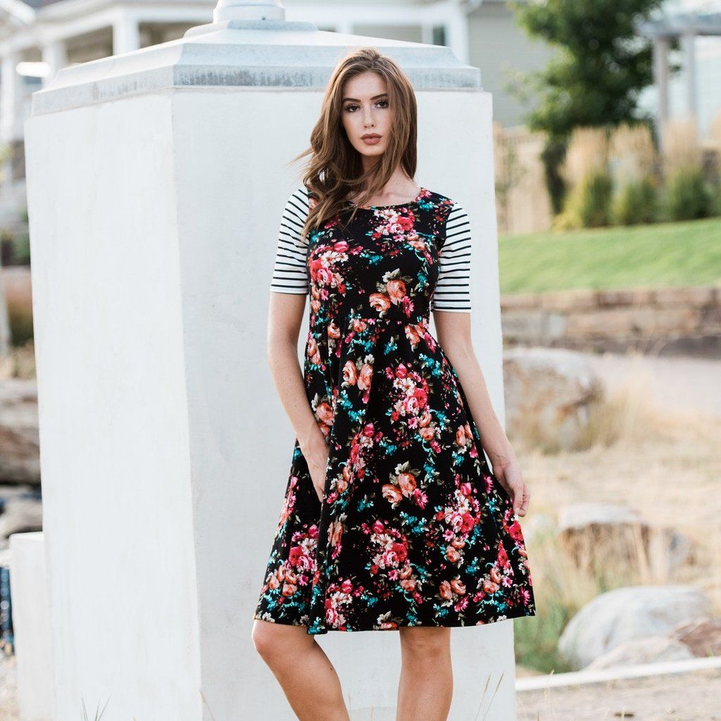 021 Poppy And Dot Black Babydoll Midi Dress In A Cranberry And Teal Floral With Stripe Sleeve Casual Day Dresses Dresses Comfortable Dress [ 1024 x 1024 Pixel ]