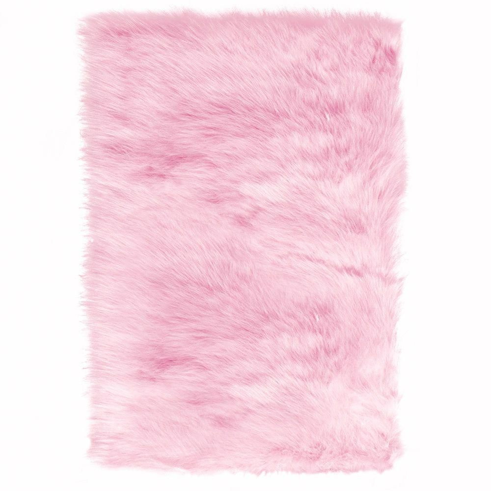 Faux Sheepskin Pink 4 Ft X 6 Area Rug
