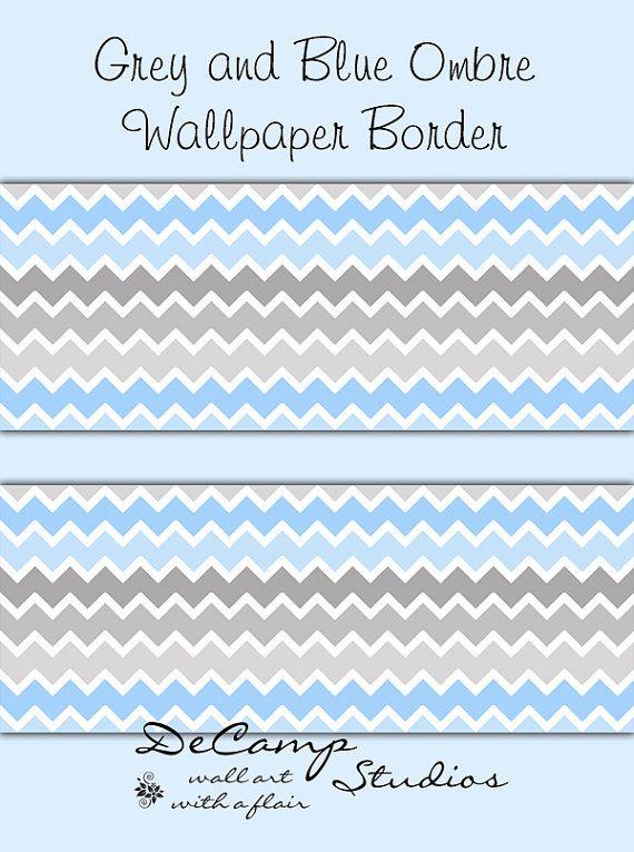 Grey Gray Blue Ombre Chevron Wallpaper Border By Decampstudios Chevron Wallpaper Wallpaper Border Ombre Wallpapers
