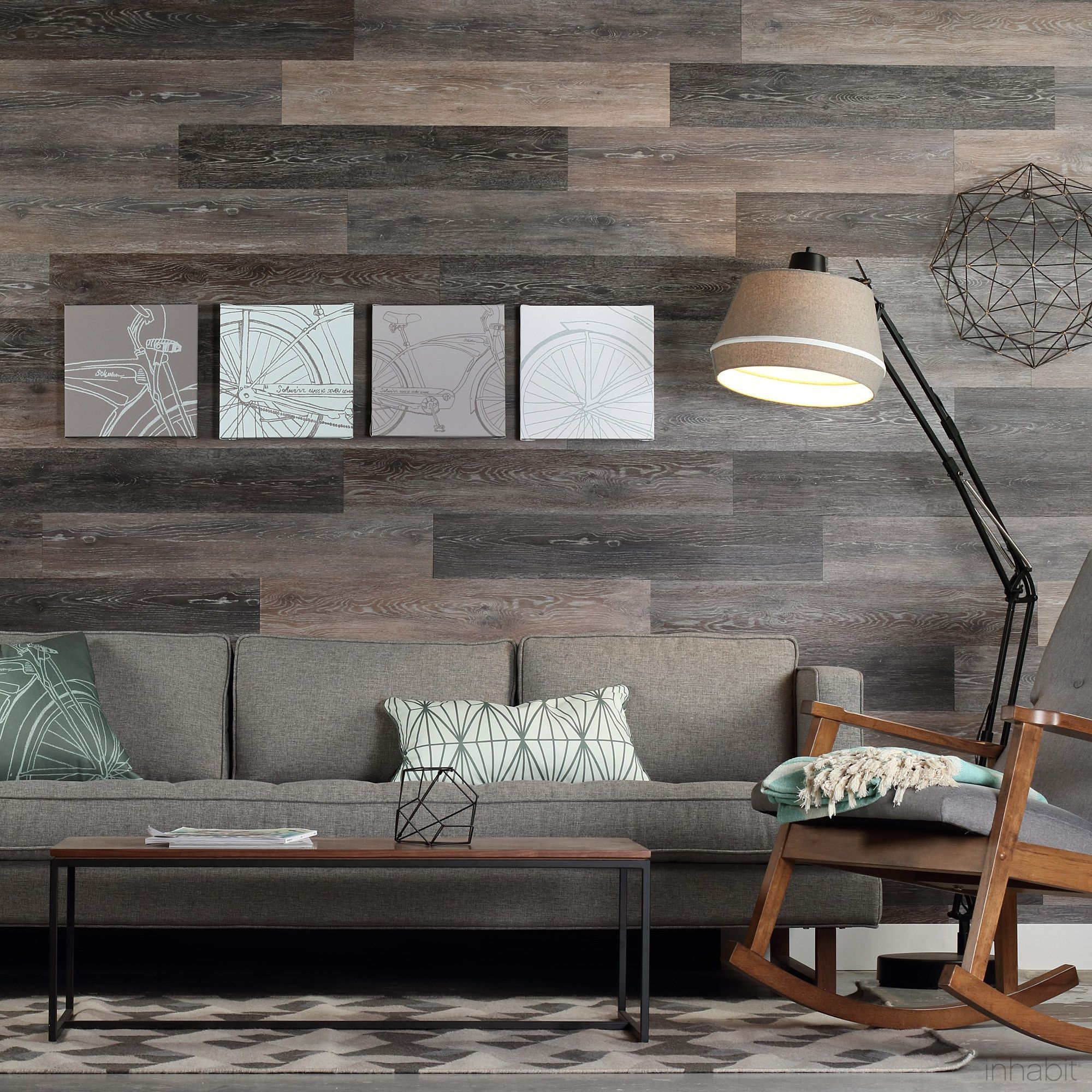 Gray Washed Oak Peel and Stick Wall Planks Wood wall