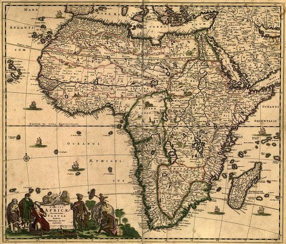 Ancient Map Of Africa Africa 1688, antique world map, Old World Map, ancient maps, 93
