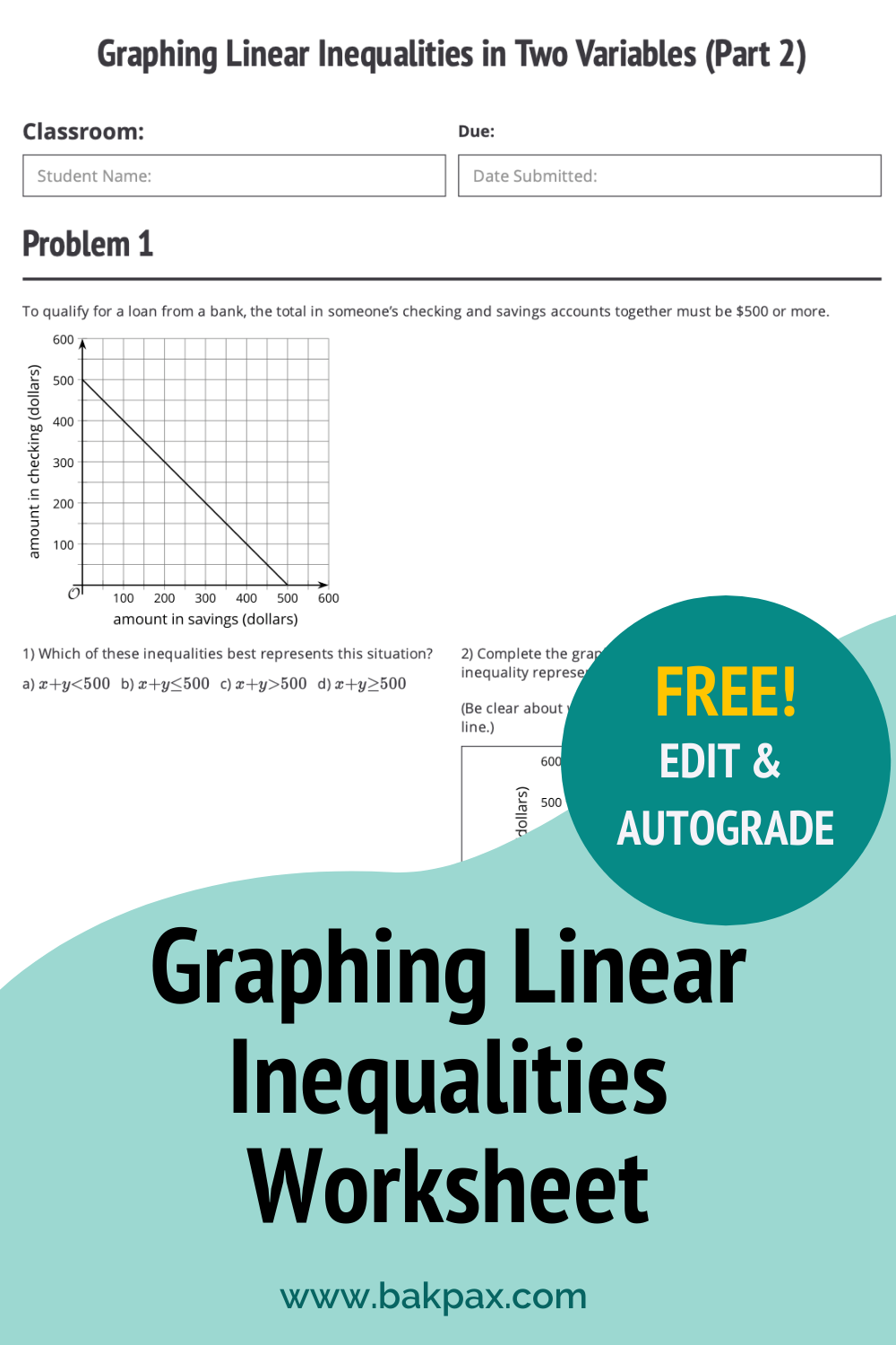 Free Graphing Linear Inequalities Algebra 1 Worksheet in