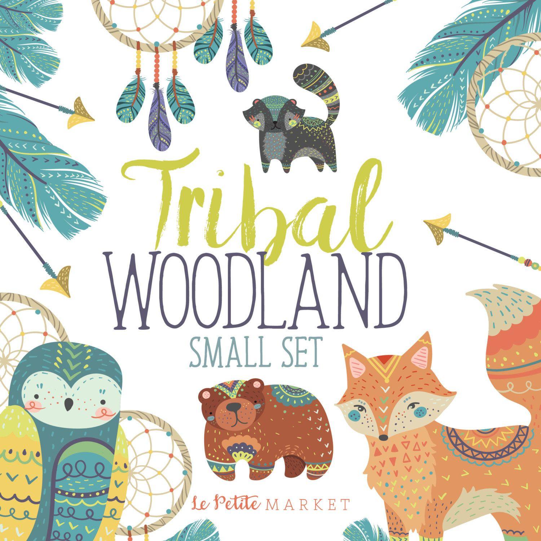 Tribal Animals Clip Art Set Tribal Woodland Clipart Tribal Fox Owl