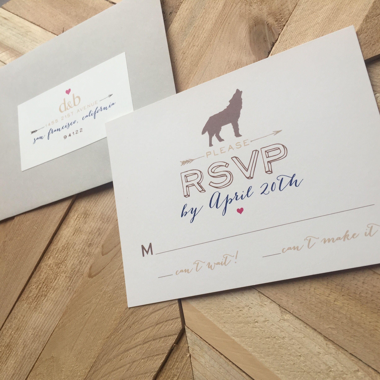 Camping wedding invitation RSVP card - galloping - nature ...
