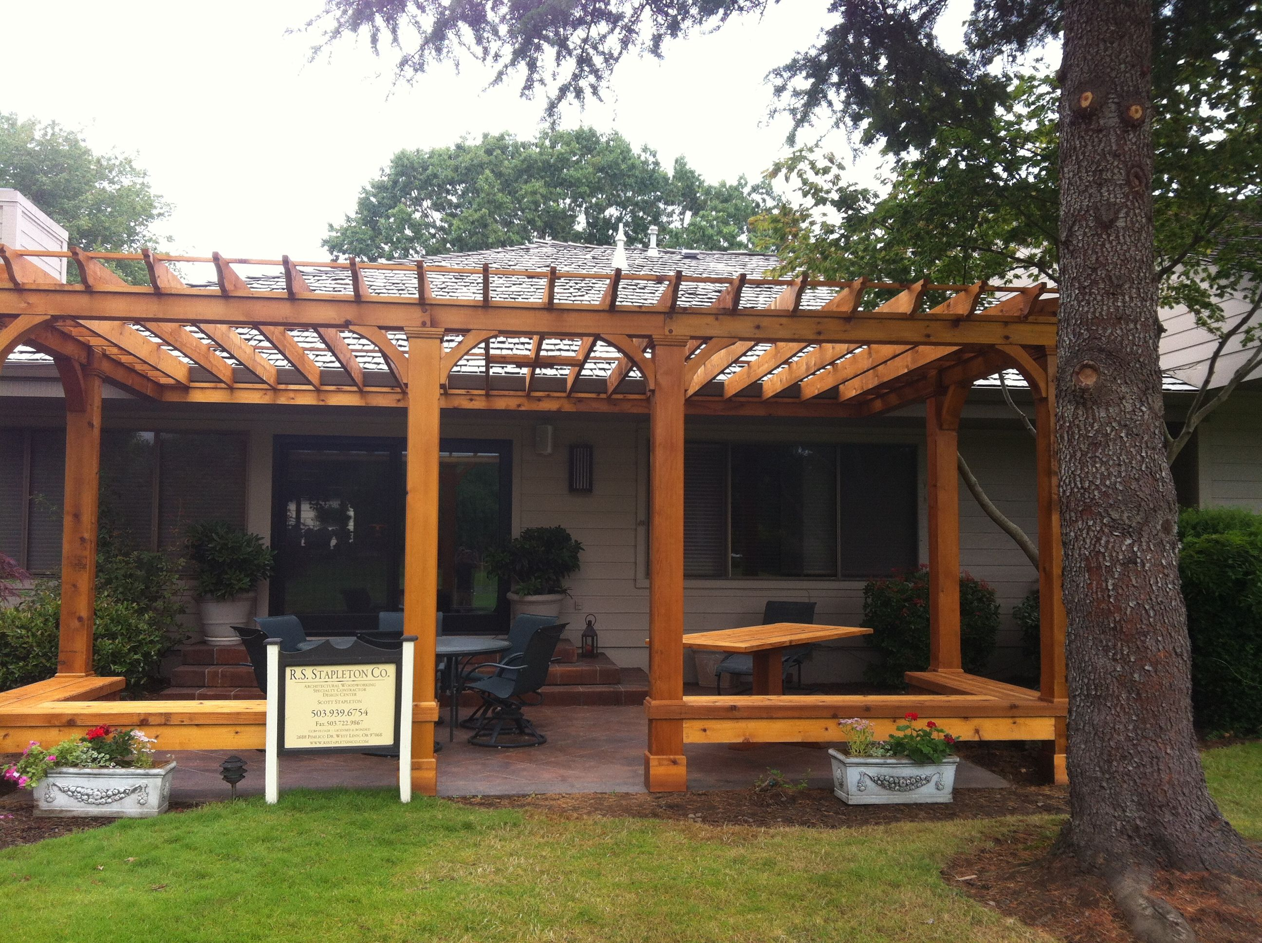 Cedar Pergola With Built In Bench Seating