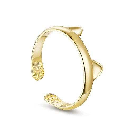 TinySand Cute Kitty Delicate Cat Ear Adjustable Ring with Signature Gift Box Gold * You can get additional details at the image link.(This is an Amazon affiliate link and I receive a commission for the sales) #Rings