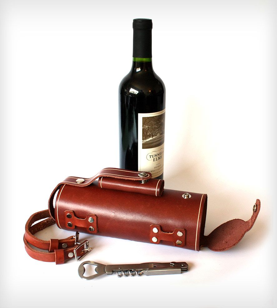 Bicycle Mounted Leather Wine Carrier With Opener Leather Wine Carrier Wine Bottle Holders Wine Bottle Carrier