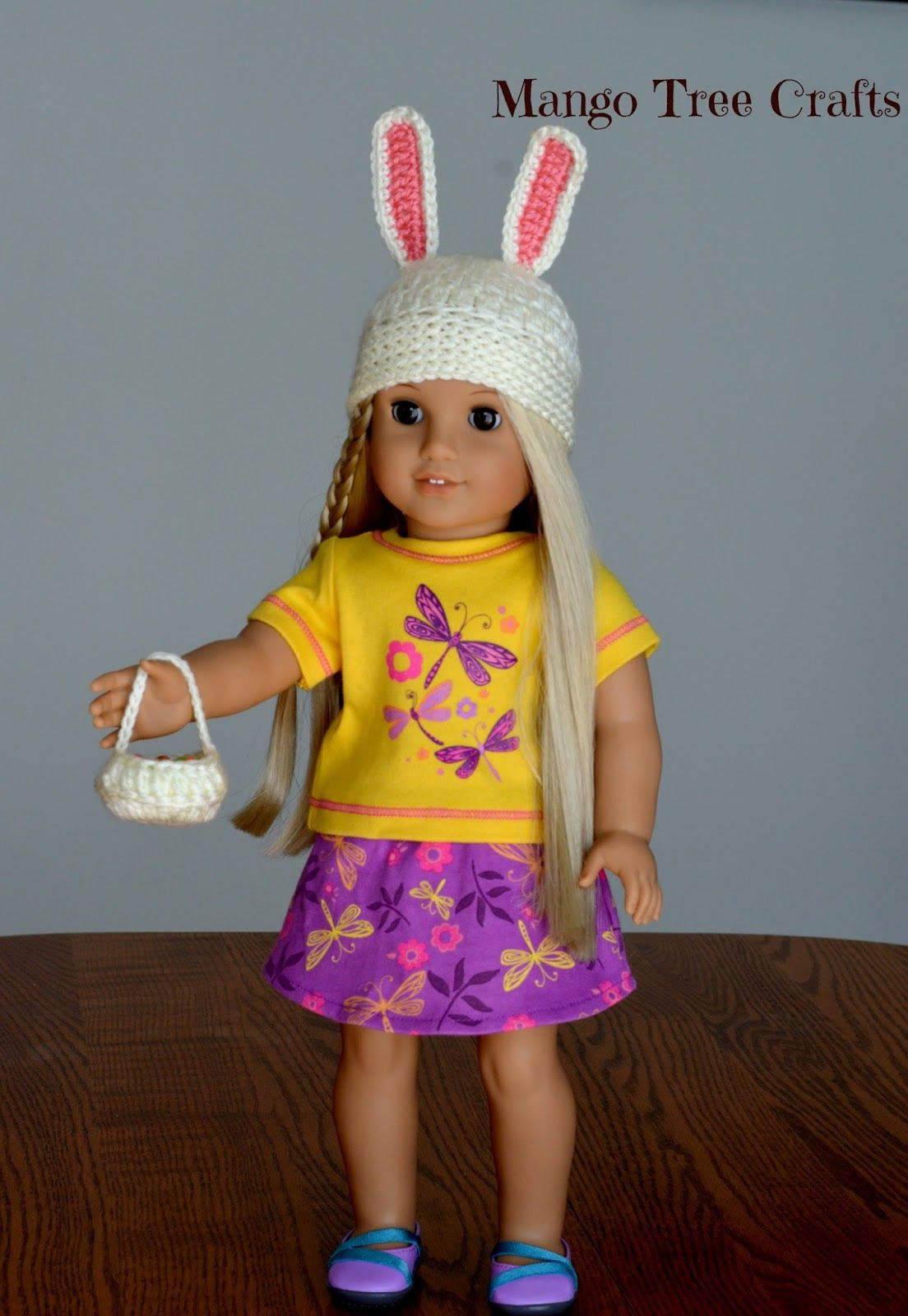 Crochet easter bunny hat pattern for American girl doll