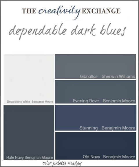 collection of dependable dark blue paint colors {Color Palette Monday} The Creativity Exchange