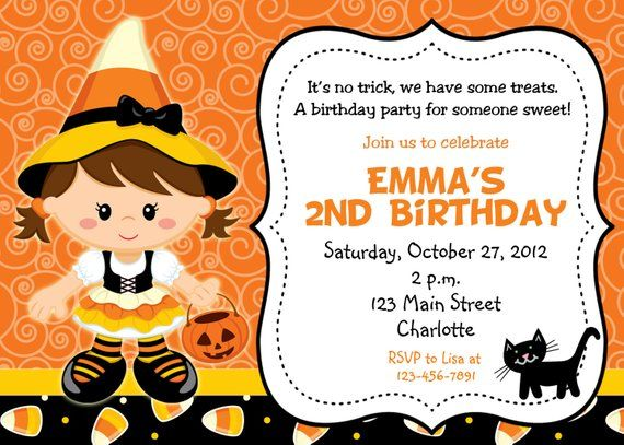 Halloween Party Invitation Candy Corn Witch Birthday You Print Or