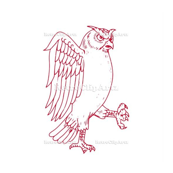great horned owl marching drawing vector stock illustration drawing sketch style illustration of a great