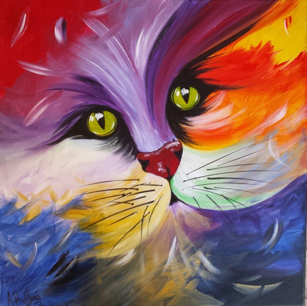 Tableau cali s rie chat arc en ciel rouge bleu vert for Peinture acrylique
