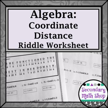 Distance Formula Practice Riddle Worksheet | | Math • High School ...