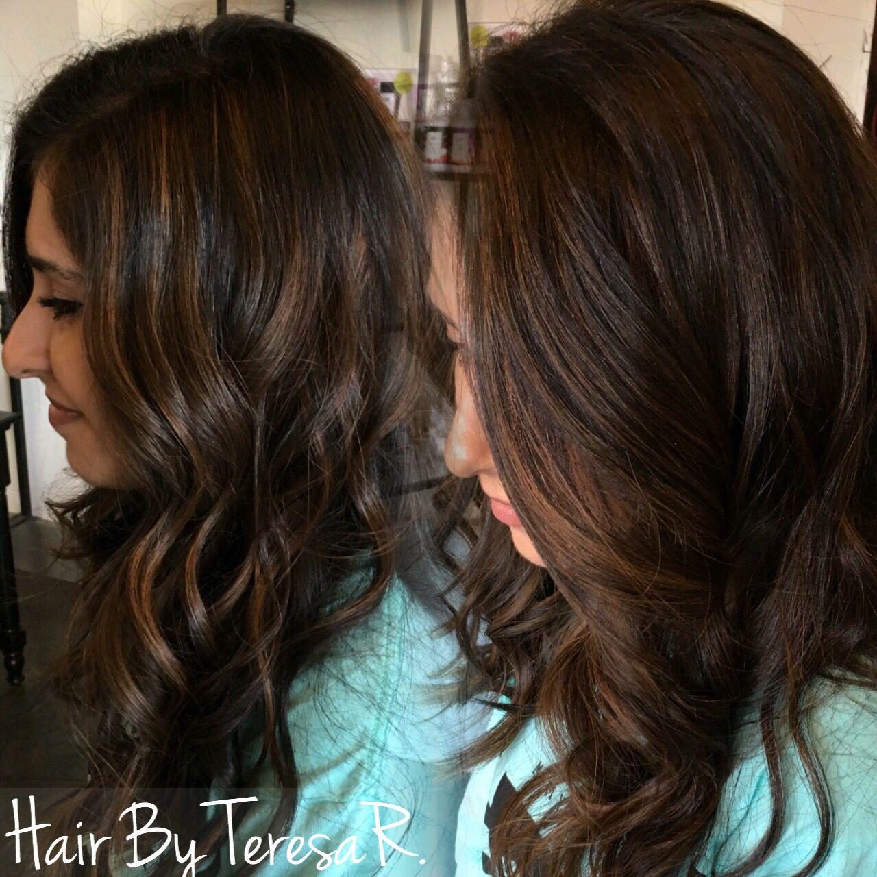 Natural Highlights On Dark Hair Hair Inspiration Pinterest