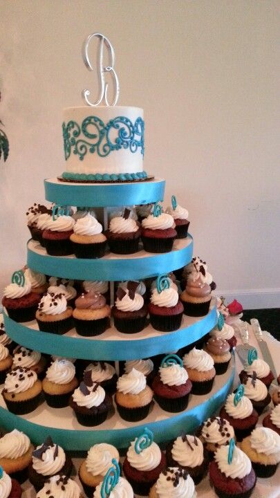 Cupcake tier display. Can customize with any ribbon!