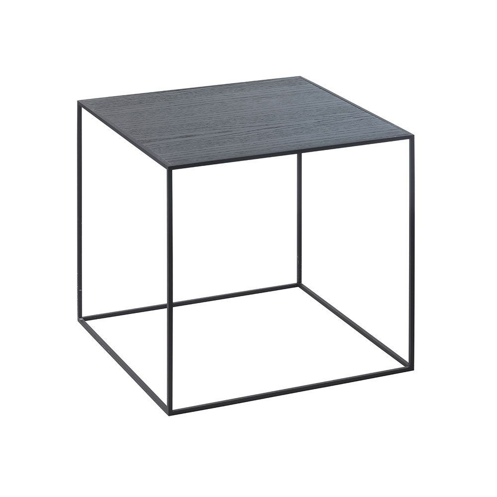 By Lassen Twin Side Table Black Ash Timber And Cool Grey Black Side Table Cool Tables Table