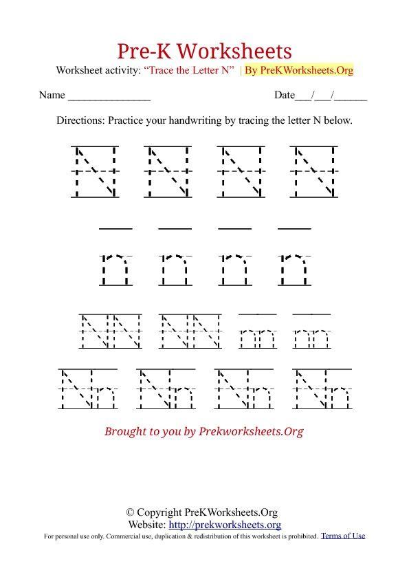 Pre-K Tracing Worksheet N | Letter/sound sheets | Pinterest ...