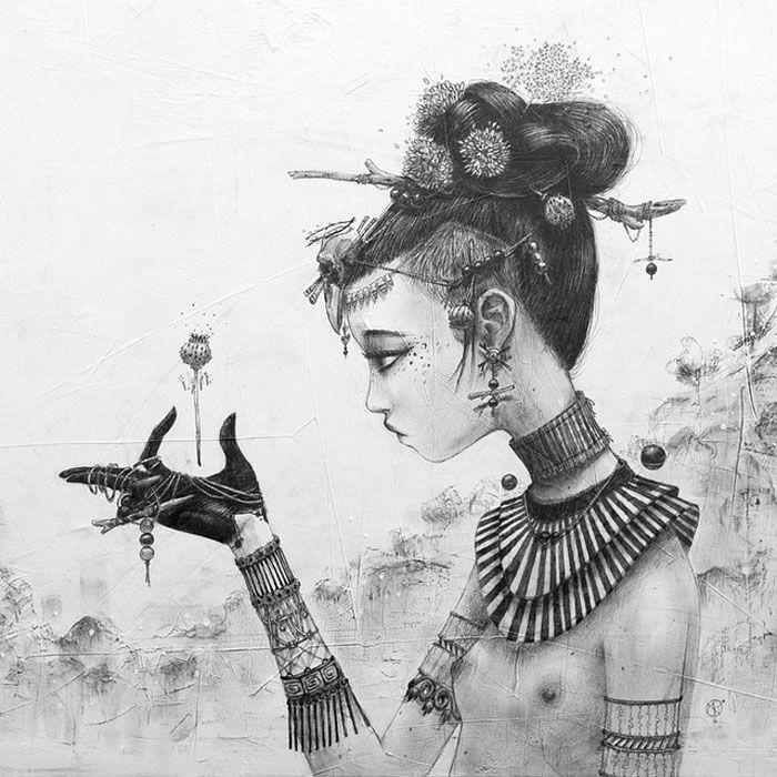 Moon mxtr – Líneas Flotantes. Moon mxtr es una diseñadora gráfica e ilustradora nacida en 1978 en Francia. Vía Cóctel Demente.