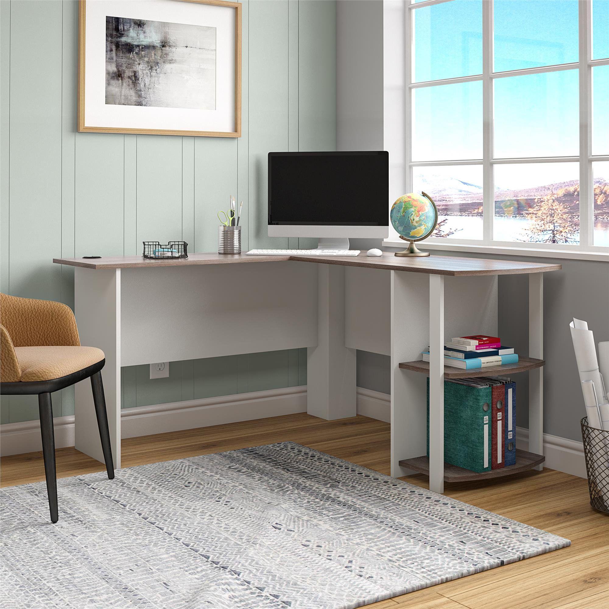 Ameriwood Home Dominic L Desk with Bookshelves, Espresso - Walmart