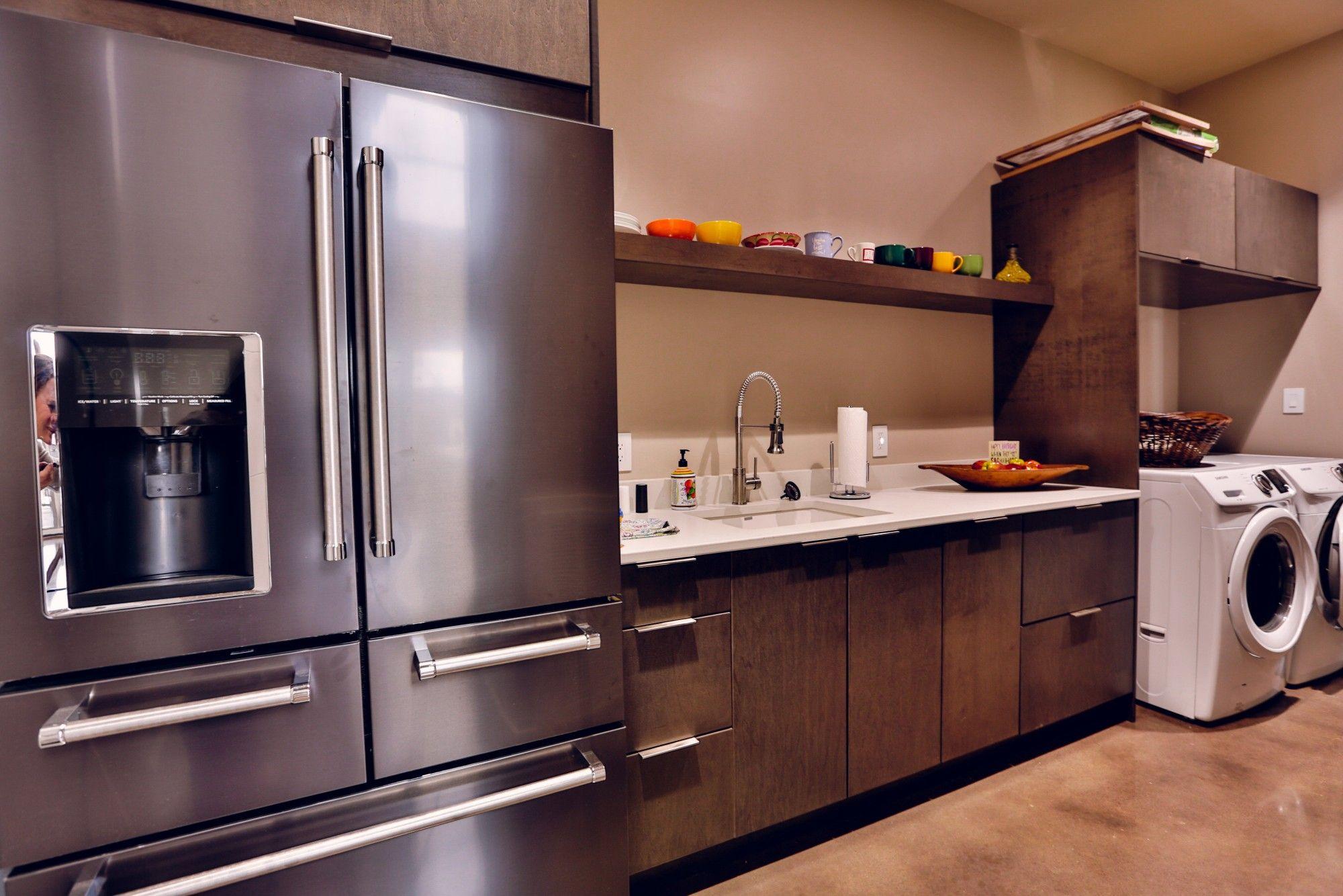 Kitchen Kraft Maple Summit Thunder Frameless Cabinets Caesarstone
