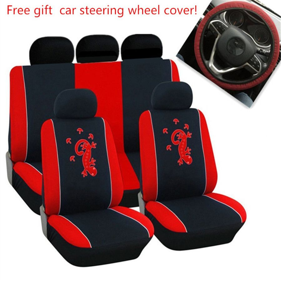 AODELAI Polyester Fabric Gecko Embroidery embroidery 9pcs car seat