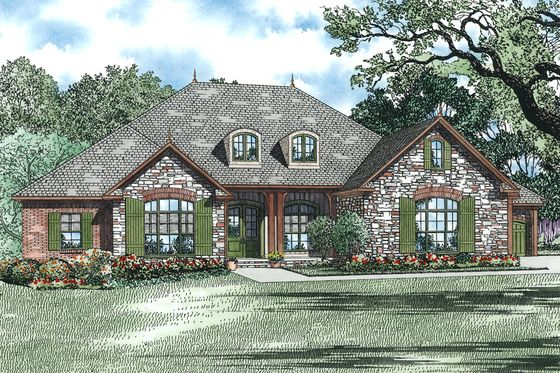 PLAN DESCRIPTION  Imagine driving up to your gorgeous brick and stone european style ranch house with a generous kitchen and great room combination flowing out to a covered porch with a fireplace and outdoor kitchen. This floor plan includes 4 garage bays for all of your things or use two bays as a workshop!