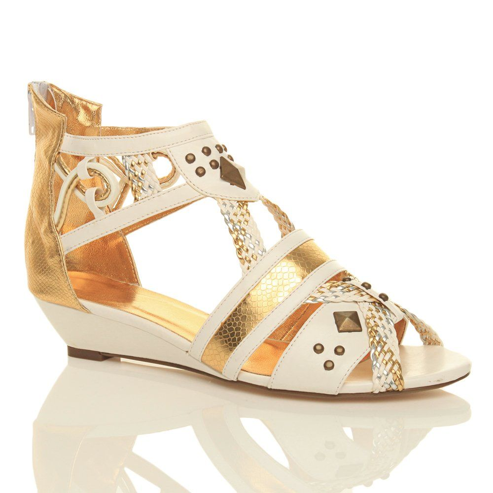 da889123817152 Womens ladies low heel wedge studded gladiator summer strappy roman grecian  metallic zip sandals size  Amazon.co.uk  Shoes   Bags
